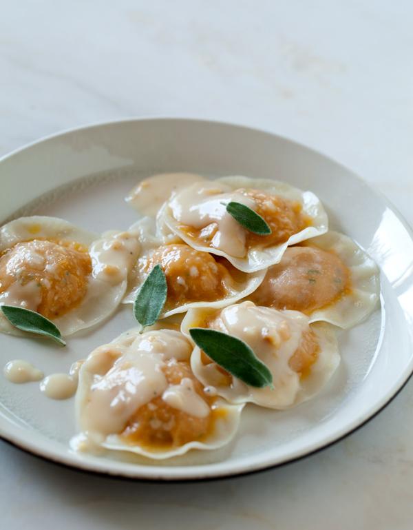 Kabocha-ravioli-hazelnut-cream-sauce