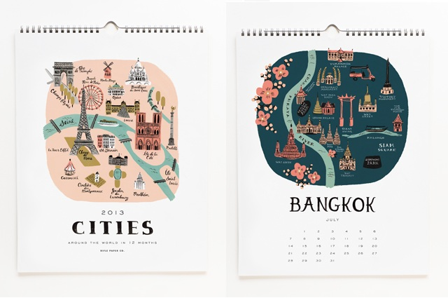 Rifle Paper Co Cities Calendar 2013
